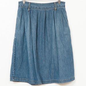 St Johns Bay Denim Skirt M Pockets Knee Length